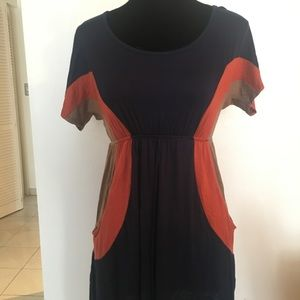 Navy orange casual mini dress
